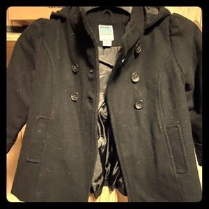 Girls 4T black wool pea coat